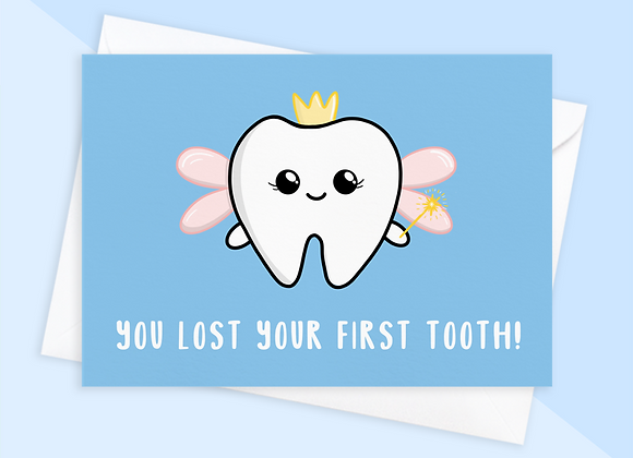 first tooth card from tooth fairy, cute tooth fairy card for child