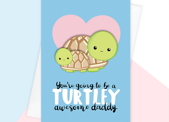 turtle daddy to be fathers day card, fathers day card from the bump
