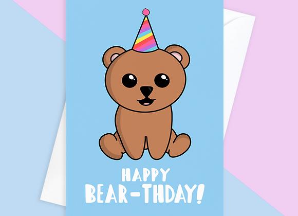 Bear birthday card, funny bear birthday card for child