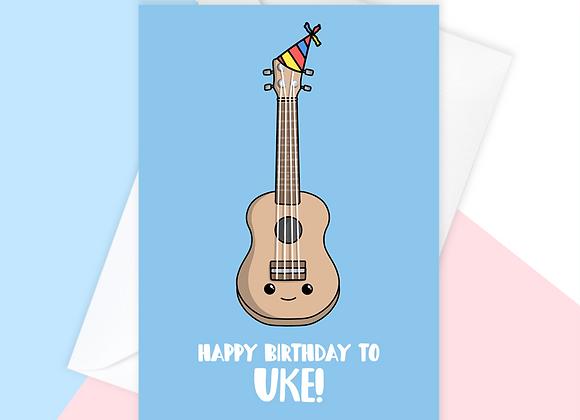 ukulele birthday card, birthday card for ukulele player