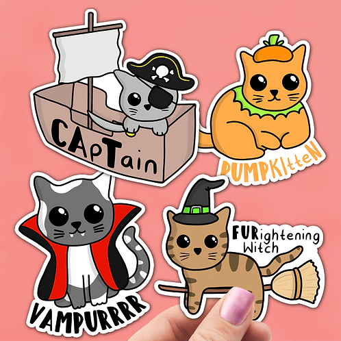 Halloween Cat Sticker Pack