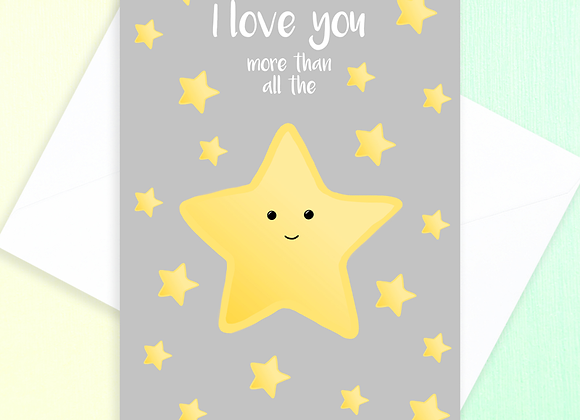 love you more than all the stars card, card from toddler