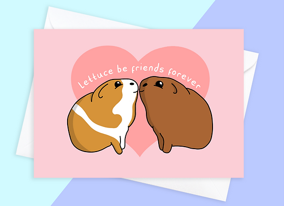 guinea pig friendship card, greeting card for guinea pig owner