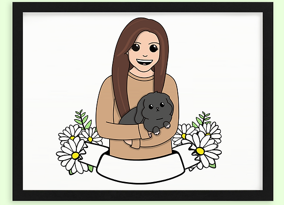 Rabbit and Owner Custom Portrait