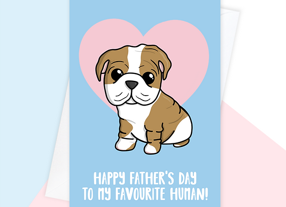 english bulldog fathers day card, fathers day card from the dog