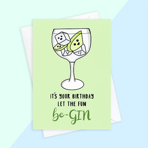Gin Birthday Card