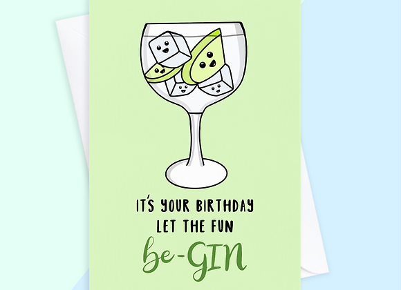 gin birthday card, birthday card for gin lover