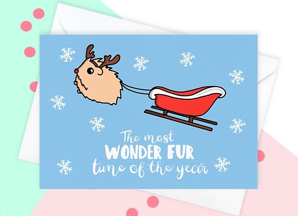 Guinea Pig Sleigh Christmas Card