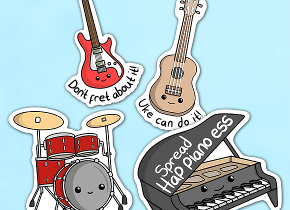 Music positivity stickers, music pun stickers, funny gift for musician