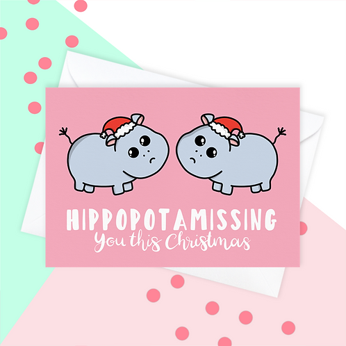 Hippo Missing You This Christmas Card