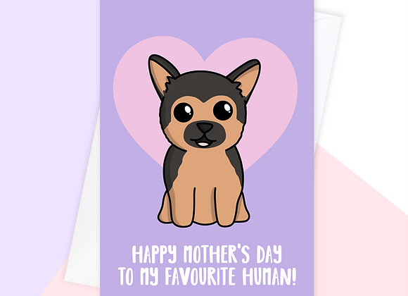 German shepherd Mother's Day card, Mother's Day card from the German shepherd