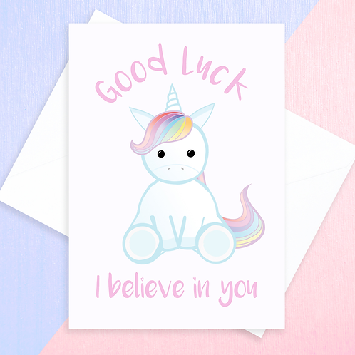 Unicorn Good Luck Card