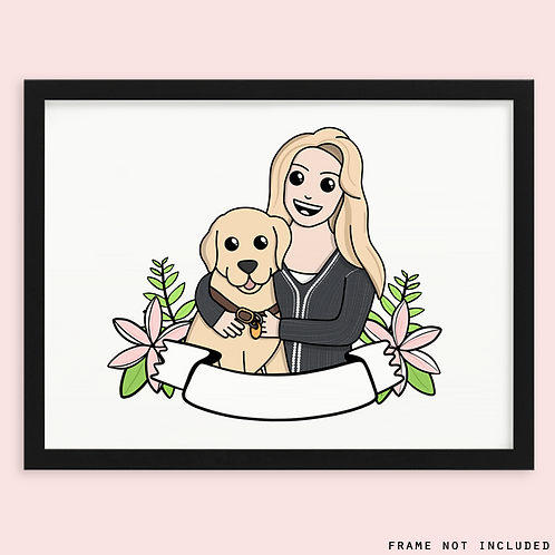 Dog and Owner Custom Portrait
