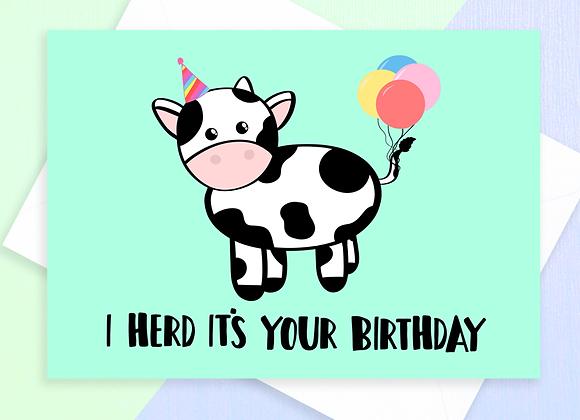 cow birthday card, birthday card for farmer