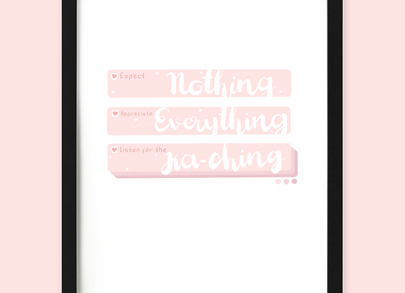 Kaching sound notification print, kerching sound quote print