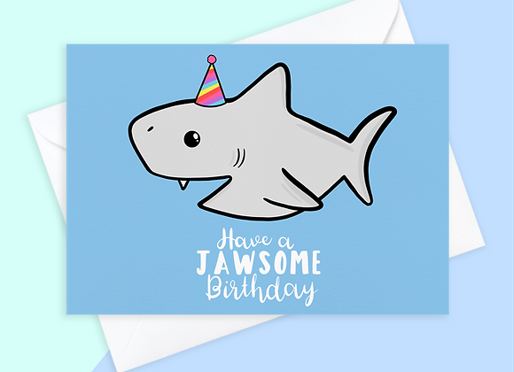 shark birthday card, birthday card for shark lover