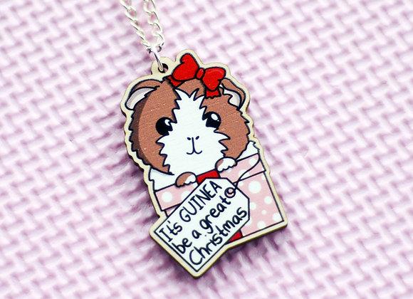 Guinea Pig Christmas Necklace, Christmas Gift For Guinea Pig Owner