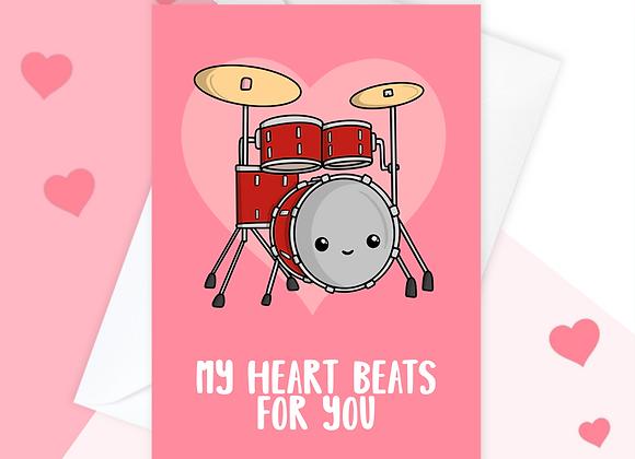 Drummer Valentine's Anniversary Card