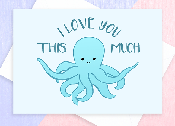 octopus anniversary card, anniversary card for octopus lover
