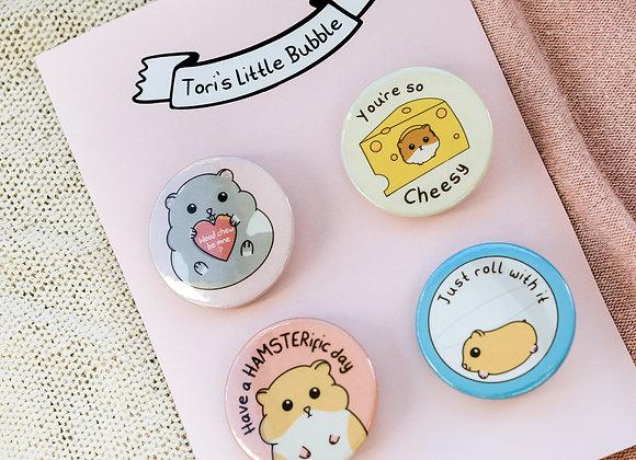 hamster badge set, hamster gift for hamster owner