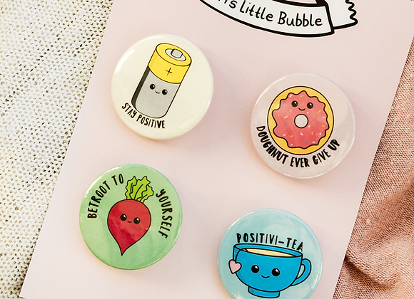 positivity badge set, thinking of you gift for friend