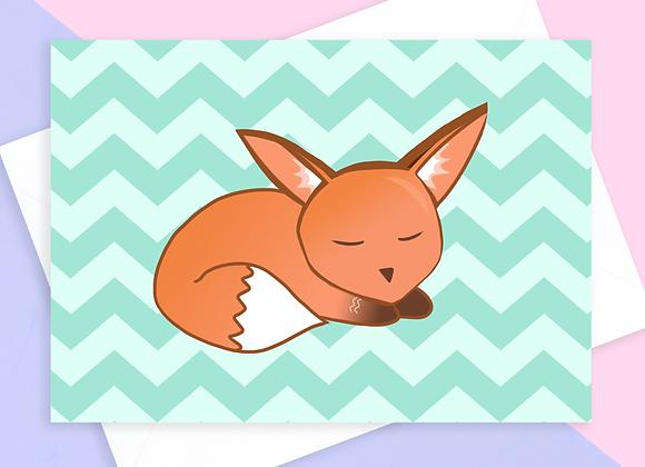 blank fox birthday card, blank fox greeting card
