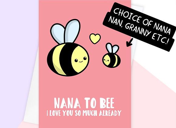 nana to be mothers day card, mothers day card from bump to grandma