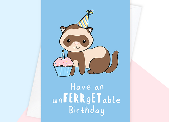 ferret birthday card, birthday card for ferret owner