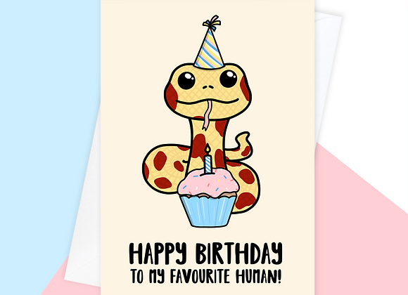 snake birthday card, birthday card from the snake