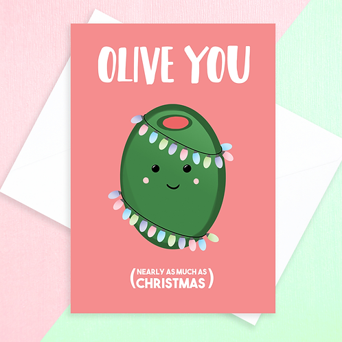 Olive You Christmas Card