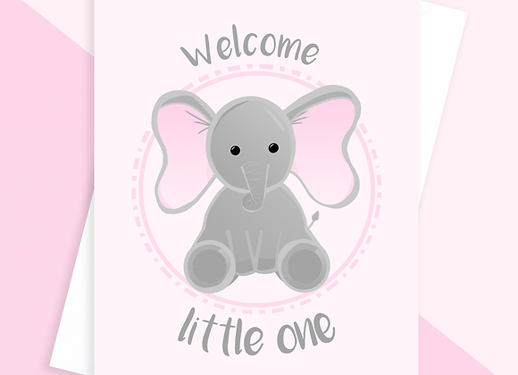 pink baby elephant card, pink baby shower card