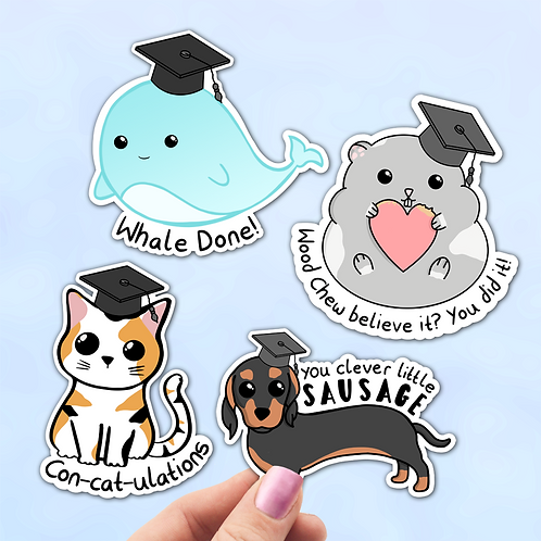 Animal Graduation Sticker Pack