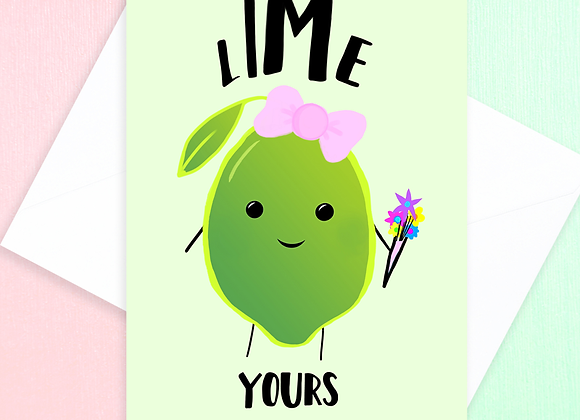 Lime Yours Valentines Card