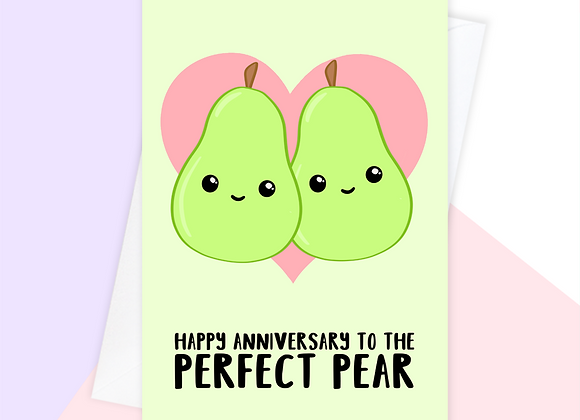 perfect couple anniversary card, pear funny anniversary card