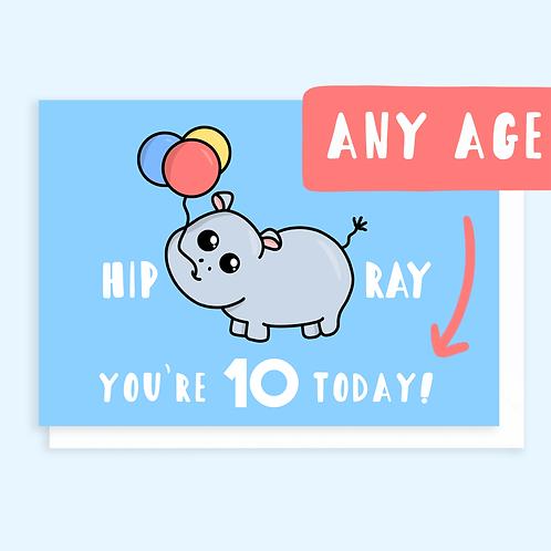 Hippo Age Birthday Card