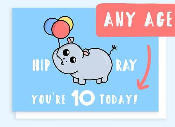 hippo age childs card, birthday card for child