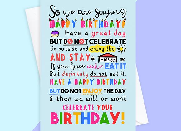 lockdown birthday card, quarantine birthday card, boris birthday card