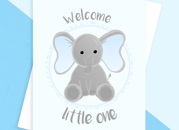 blue elephant baby shower card, cute elephant baby card