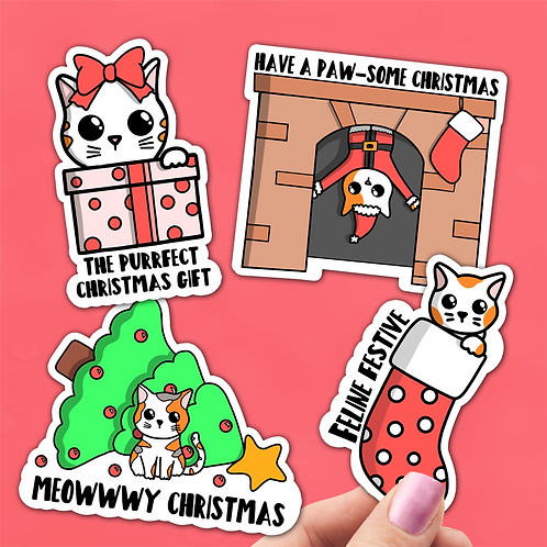 Cat Christmas Sticker Pack