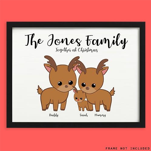 Personalised Family Reindeer Print