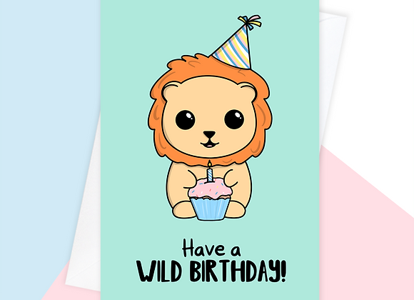 lion birthday card, birthday card for lion lover