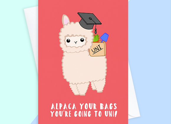 Alpaca funny university card, you're going to uni, funny a level results card