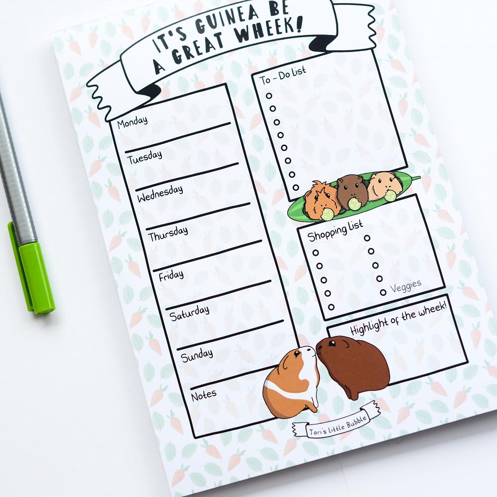 Guinea Pig Weekly Notepad, Guinea Pig Planner