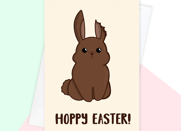 funny easter card, easter bunny pun card, chocolate easter bunny card