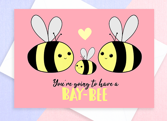 bumble bee baby shower card, funny bee maternity card