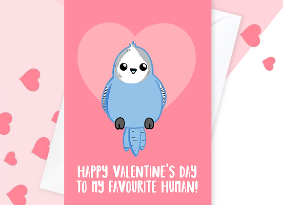 Budgie valentines card, valentines card from the budgie