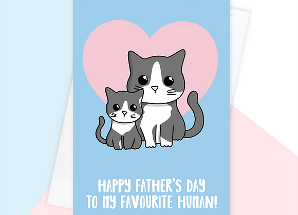 fathers day card from the cat, cat fathers day card for cat owner
