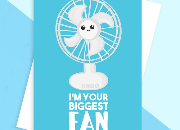 funny good luck card, biggest fan good luck card