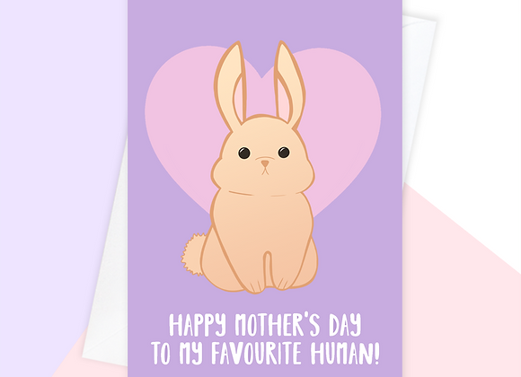 rabbit mothers day card, mothers day card from the rabbit
