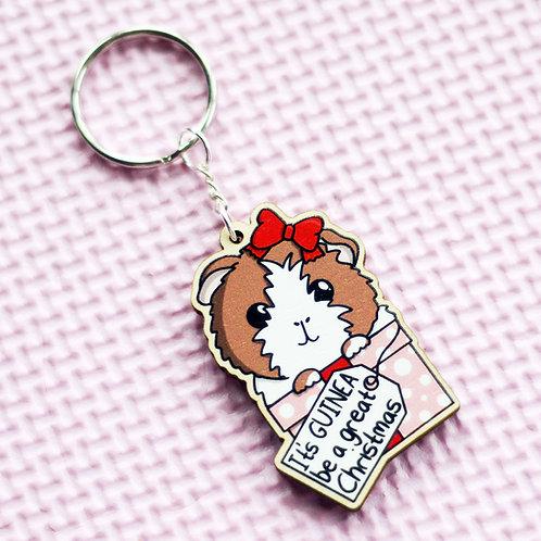Christmas Guinea Pig Key Ring